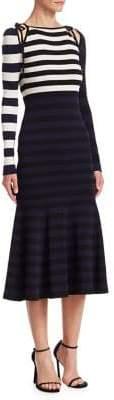 Oscar de la Renta Striped Knit Cold-Shoulder Dress