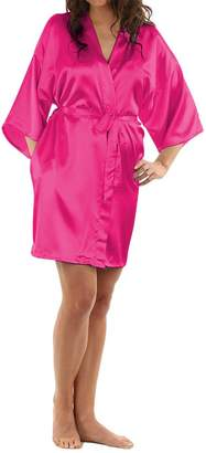 LAPAYA Women's Kimono Robe Knee Length Bridal Lingerie Sleepwear Short Satin Robe