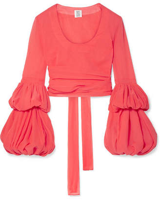 Rosie Assoulin The Pfff Pleated Cropped Cotton-voile Wrap Top - Bubblegum