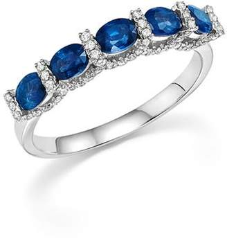 Bloomingdale's Blue Sapphire Oval and Micro Pavé Diamond Band in 14K White Gold - 100% Exclusive