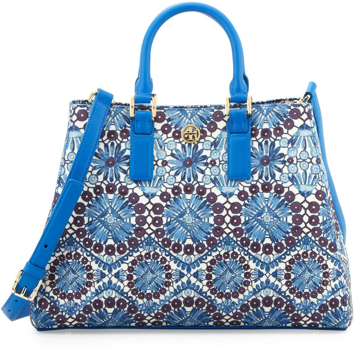 Tory Burch Robinson Printed Triangle Tote Bag, Blue