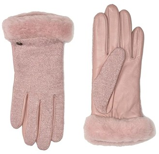 UGG Fabric Leather Shorty Tech Gloves with Sherpa Lining