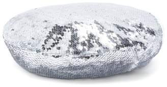 Racil - Irene Sequin Embellished Silk Beret - Womens - Grey