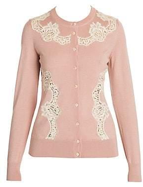 Dolce & Gabbana Women's Cashmere & Silk-Blend Lace Inset Knit Cardigan