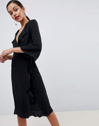 Outrageous Fortune ruffle wrap midi dress with fluted sleeve in black