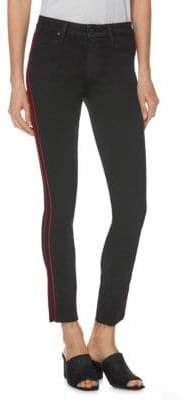 Paige Hoxton High-Rise Racing Stripe Ankle Skinny Jeans