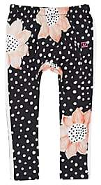 Munster INFANTS' FLOWER-PRINT COTTON LEGGINGS - BLACK SIZE 12/18