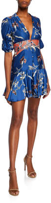 Alexis Nari Button-Front Fit-&-Flare Short Dress