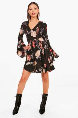 boohoo Ladder Trim Ruffle Sleeve Smock Dress