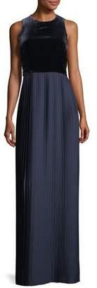 Lafayette 148 New York Marsiela Sleeveless Velvet Pleated Maxi Cocktail Dress