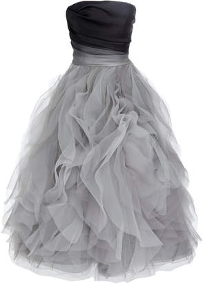 Marchesa Ruffled Satin-Trimmed Organza Strapless Gown