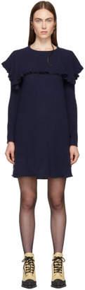 See by Chloe Navy Feminine Ruffle Dress