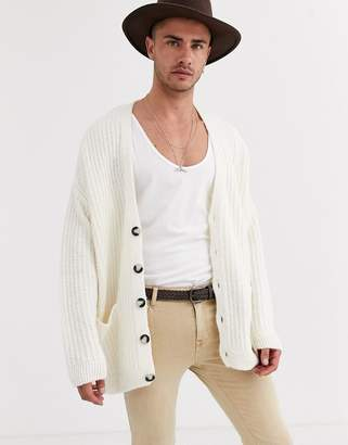 Asos Design DESIGN oversized ribbed cardigan in off white