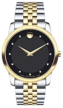 Movado Museum Classic Two-Tone Stainless Steel Diamond Bracelet Watch