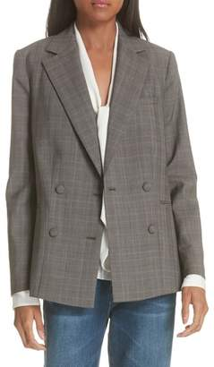 Frame Plaid Double Breasted Wool Blazer