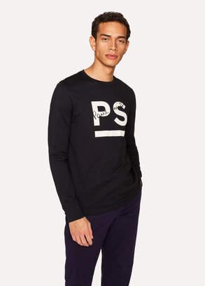 Paul Smith Men's Black Logo Long-Sleeve Organic-Cotton T-Shirt