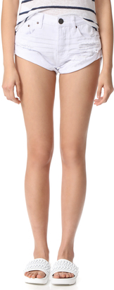 One Teaspoon White Beauty Bandit Shorts $99 thestylecure.com