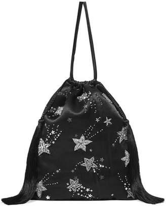 ATTICO Tasseled Embellished Satin Pouch - Black