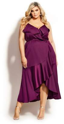 City Chic Ruffle Amore Maxi Dress - cerise