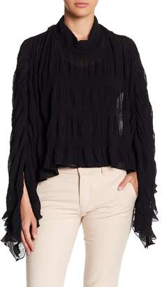 CQ by CQ Shirred Poncho Blouse