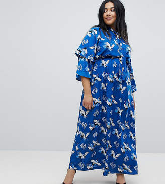 Yumi Plus Frill Sleeve Maxi Dress in Heron Print