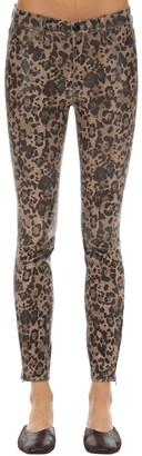 J Brand Mid Rise Leopard Print Leather Pants