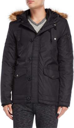 Fresh Brand Faux Fur Trim Hooded Coat