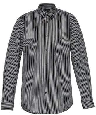 Balenciaga Striped Logo Print Shirt - Mens - Black White