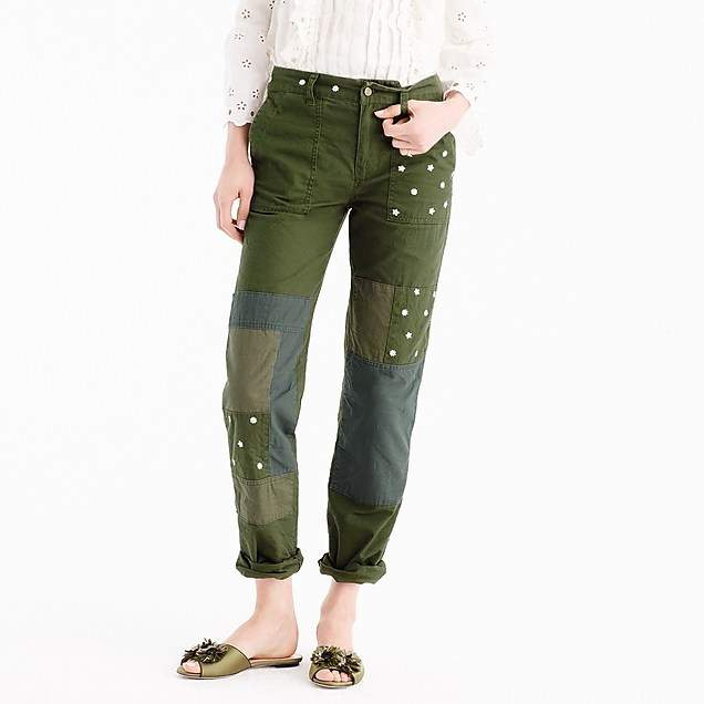 Embroidered boyfriend chino pant with patches