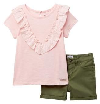 Hudson Slub Eyelet Top & Stretch Twill Shorts (Toddler Girls)