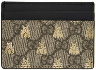 Gucci Beige and Black GG Supreme Bees Card Holder