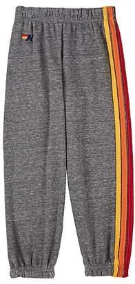 Aviator Nation Kids' Rainbow-Striped Cotton-Blend Sweatpants