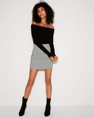 Express High Waisted Check Print Mini Skirt