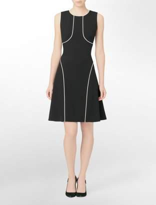 Calvin Klein piped detail sleeveless sheath