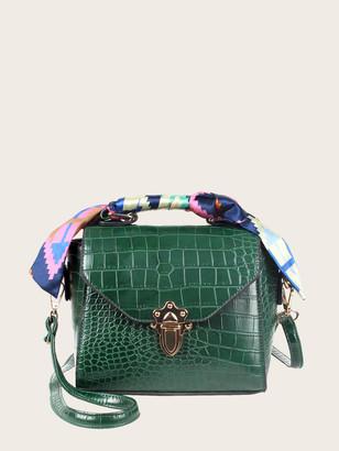 Shein Croc Embossed Twilly Scarf Satchel Bag