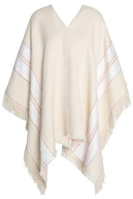 Theory Fringed Striped Cotton And Linen-Blend Poncho