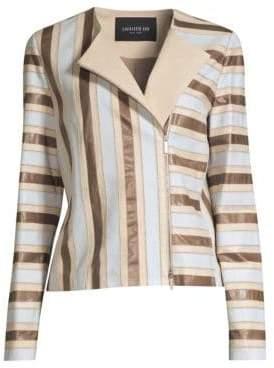 Lafayette 148 New York Kaydon Stripe Leather Jacket