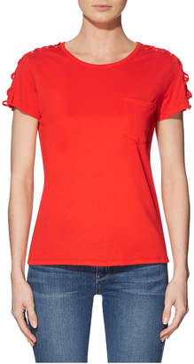 GUESS Short Sleeve Lace Up Sleeve Tee