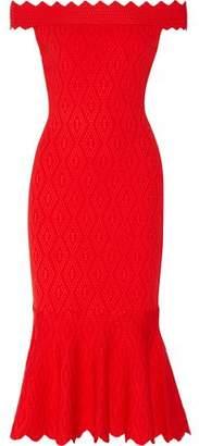 Jonathan Simkhai Off-The-Shoulder Fluted Cloqué Midi Dress