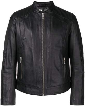 Les Hommes Urban zipped leather jacket