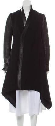 Rick Owens Leather-Trimmed Wool Coat