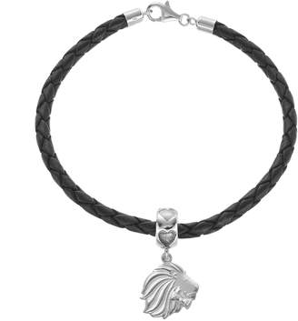 Pi LogoArt Sterling Silver & Leather Alpha Delta Sorority Lion Bracelet