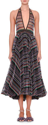 Missoni Sleeveless Plunging Rainbow-Stripe Metallic Gown w/ Bubble Hem