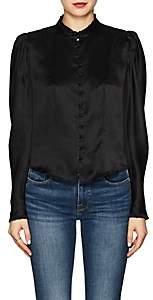 Frame Women's Silk Charmeuse Victorian Blouse - Black