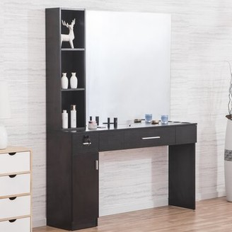 Symple Stuff Shumake Wall Mount Hair Styling Barber Station 2 Drawer Combo Dresser with Mirror Symple Stuff