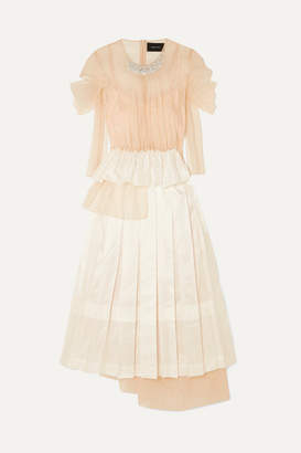 Simone Rocha Embellished Ruffled Tulle And Satin Midi Dress - Neutral