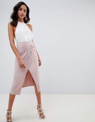Asos (エイソス) - ASOS DESIGN slinky jersey midi skirt with wrap front