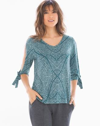 Soft Jersey Tie Sleeve Top Lacy Nature Water Spout