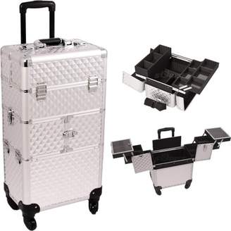 29.75 inch Professional Cosmetics Studio Pattern Aluminum 360 Degree Rotating Wheels Travel Makeup Train Case Trolley w/ 3 Easy Slide Trays + 6 Accordion Trays