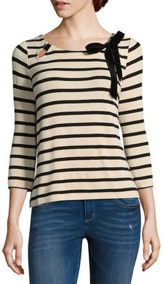 Libby Edelman Striped Knittop Bow 3/4 Sleeve Round Neck Jersey Blouse